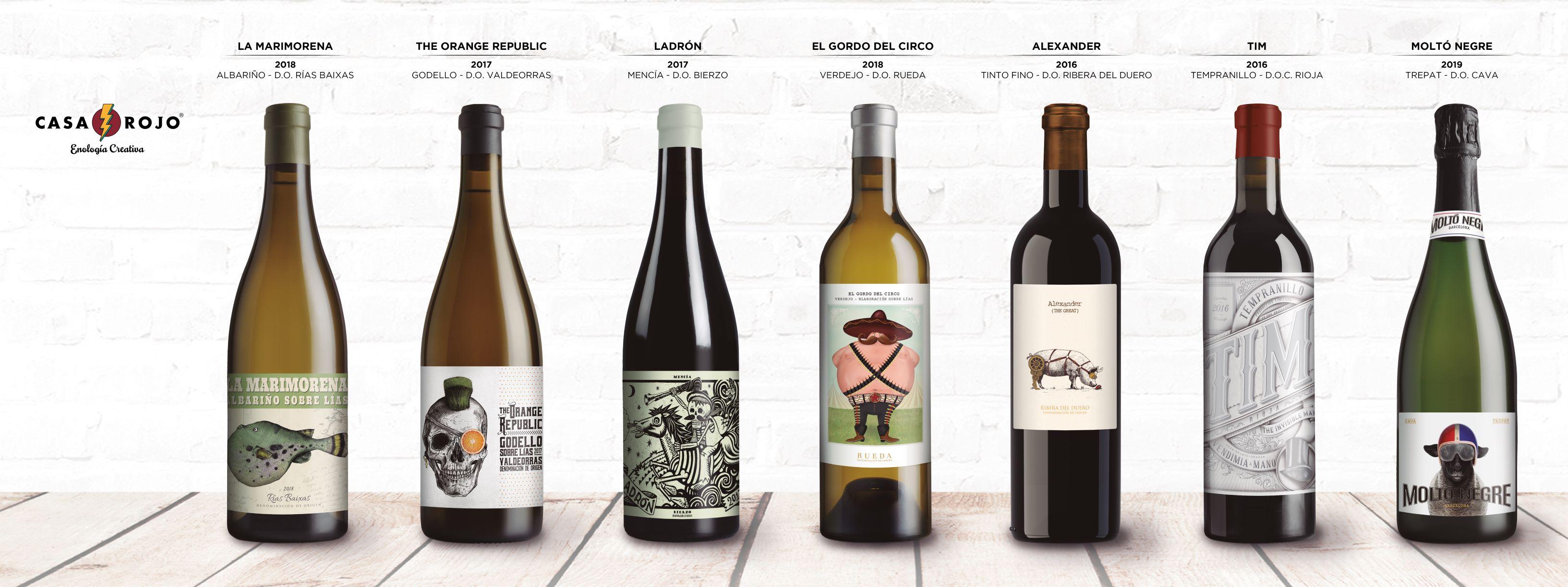 Familia de vinos de bodega Casa Rojo